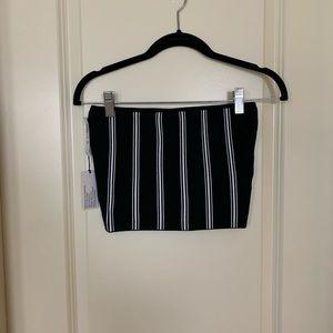 nwt aritzia black + white striped tube top